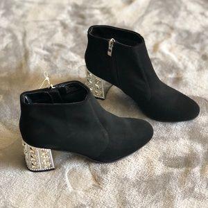 New Madeline Stuart black booties with silver heel
